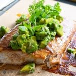 Spiced Baked Fish with Avocado Salsa on baking mat