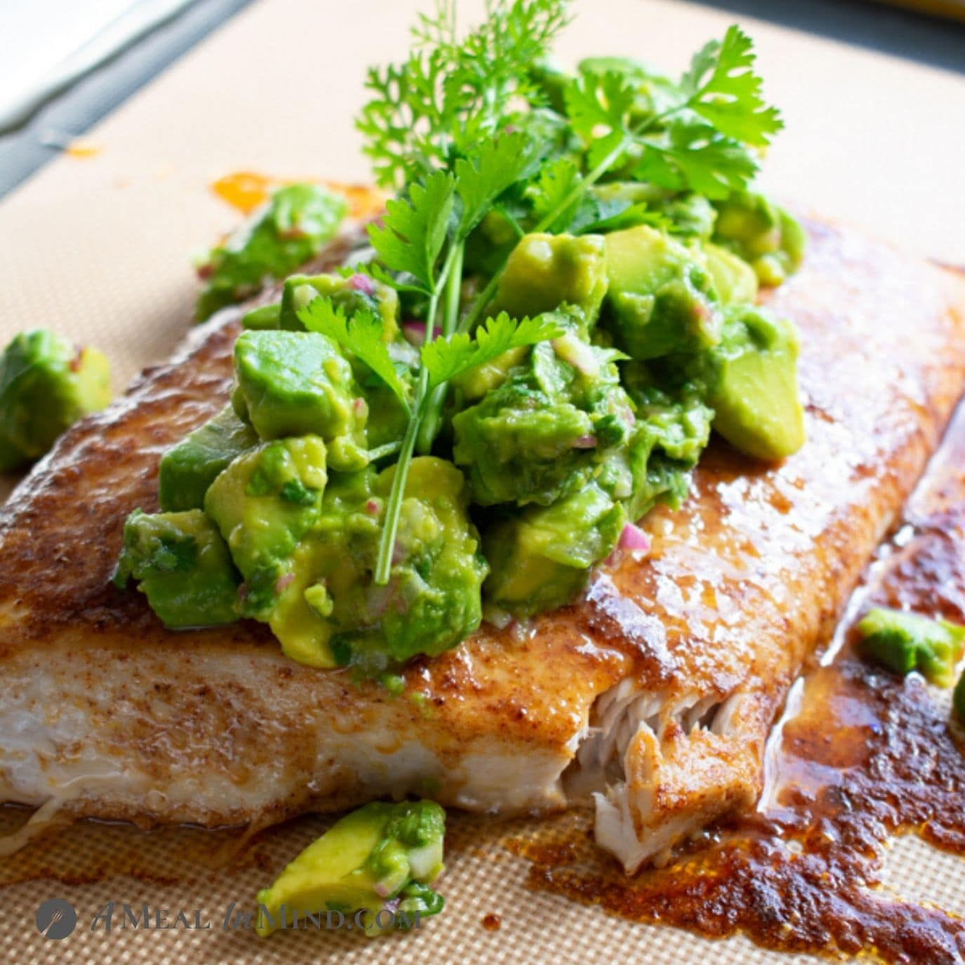 Spiced Baked Fish with Avocado Salsa