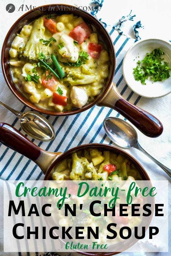 Creamy Mac and Cheese Chicken Soup in soup bowls with spoons Pinterest image