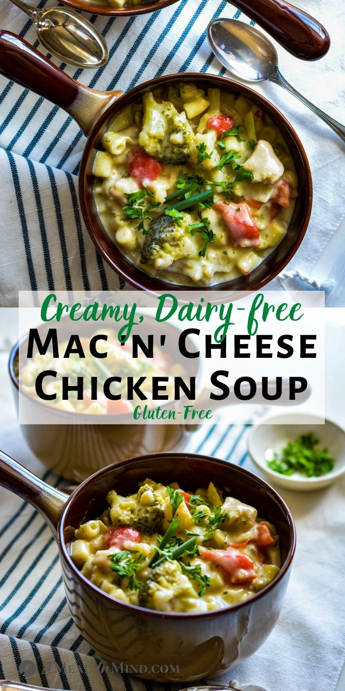 Creamy Mac and Cheese Chicken Soup in handled soup bowls tall pinterest collage