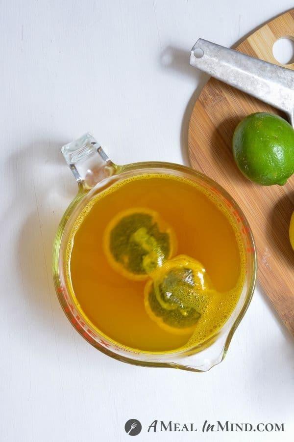 turmeric, ginger and tea steeping for Turmeric-Ginger Lemon Tea