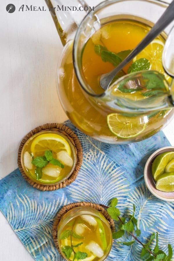 Turmeric-Ginger Lemon Tea glasses and pitcher overhead view