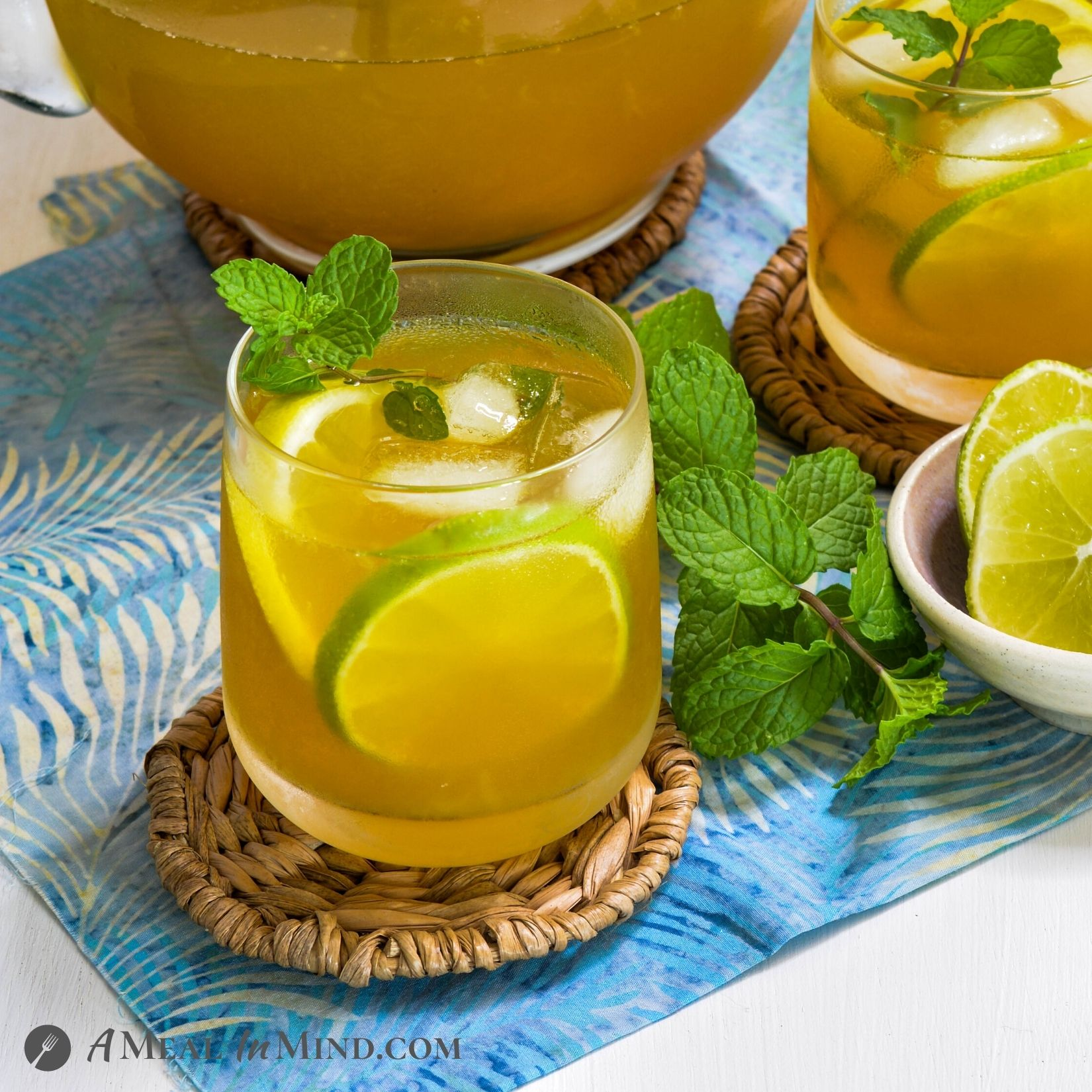 Turmeric-Ginger Lemon Tea close up of garnished glass of tea
