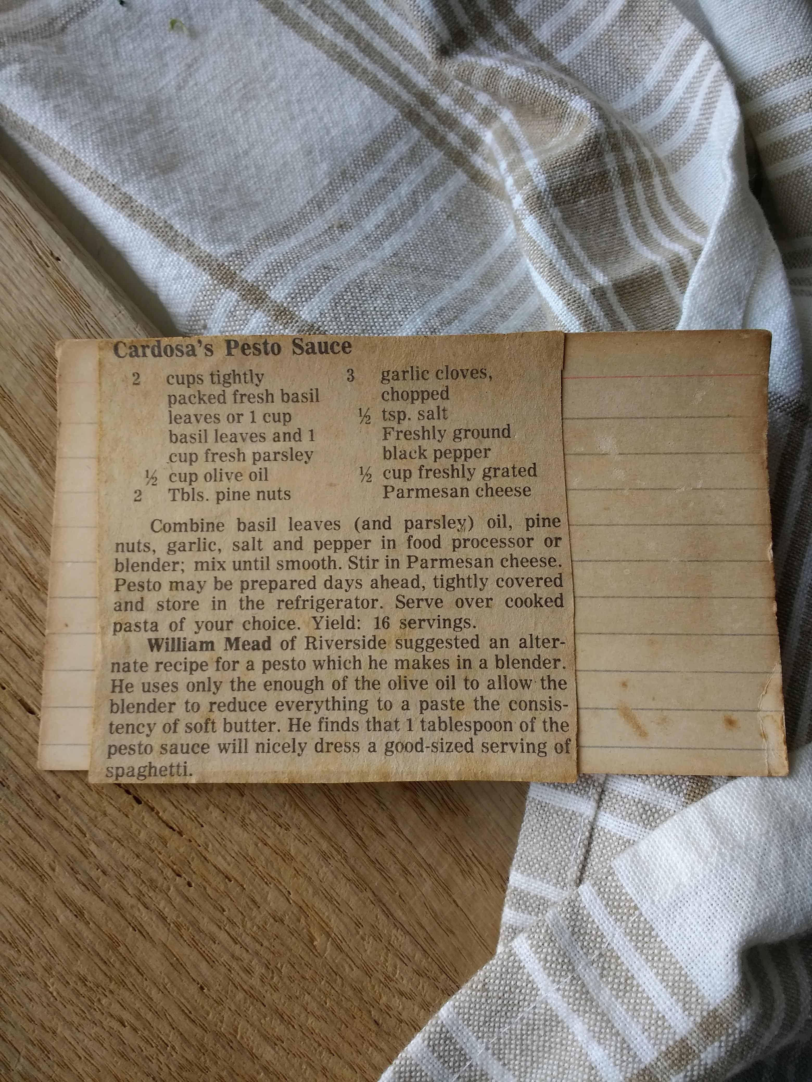 old recipe card for cardosa's pesto