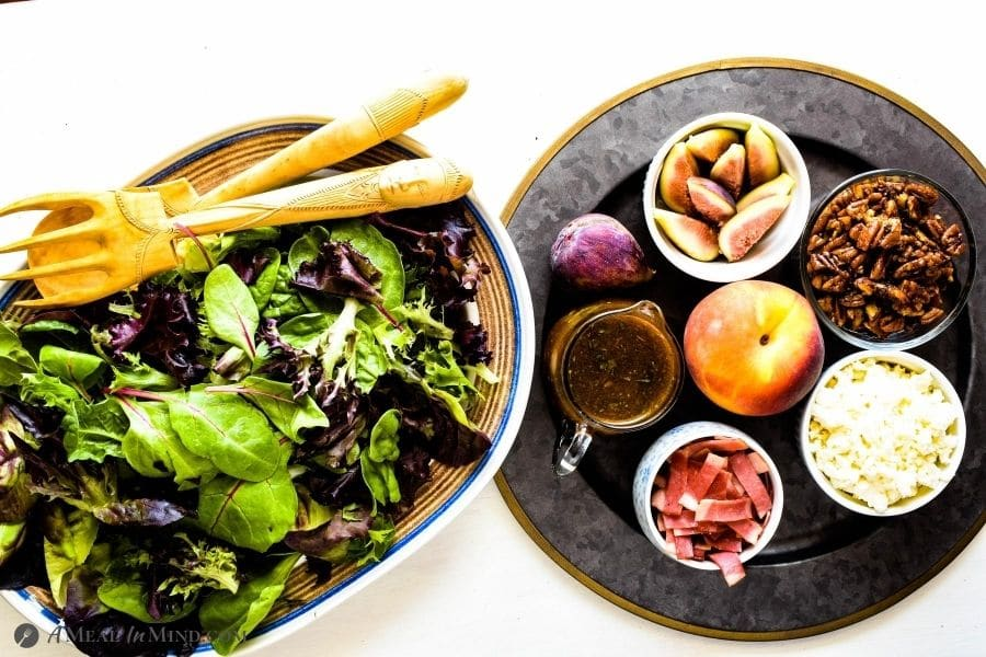 Fig-Peach Pecan Salad with Feta and Balsamic Vinaigrette on serving platters