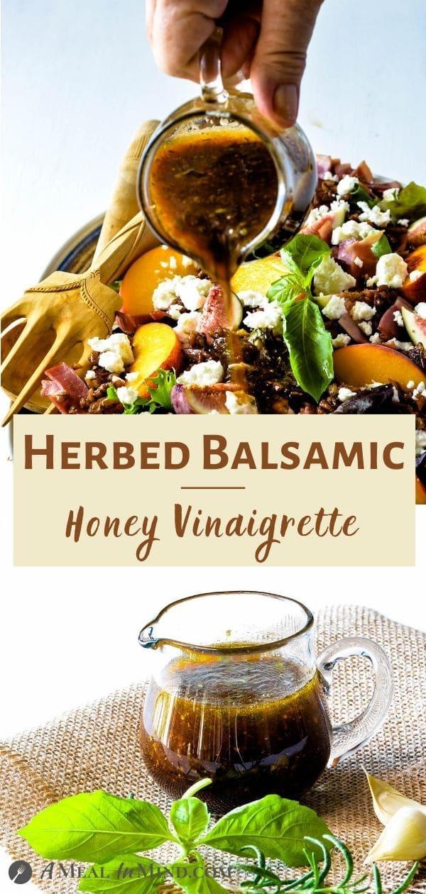 Herbed Balsamic-Honey Vinaigrette tall pinterest collage