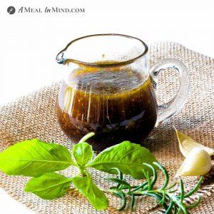 Herbed Balsamic-Honey Vinaigrette in glass pourer