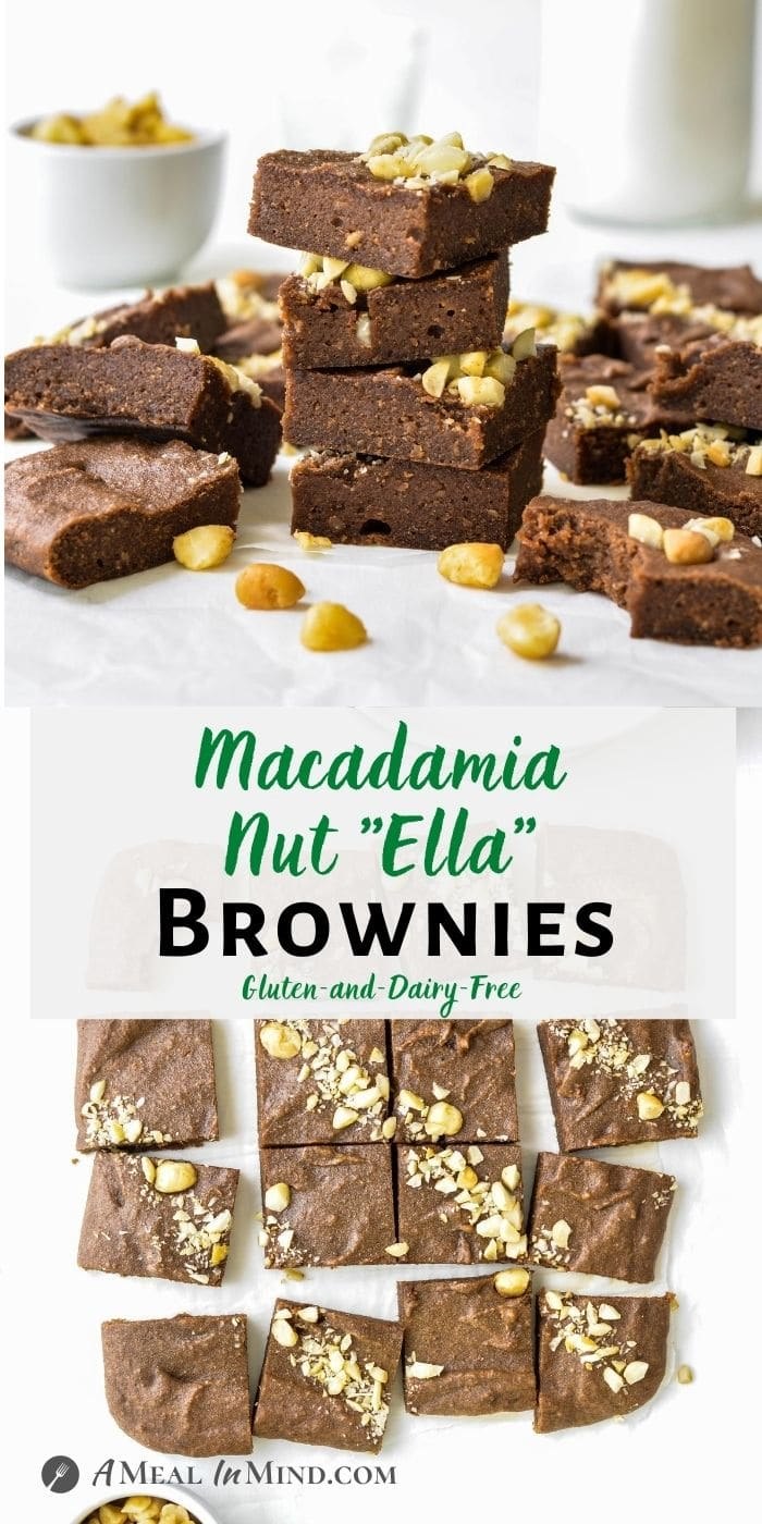 "Macadamia Nut""Ella"" Brownies 3 Ingredient pinterest collage"