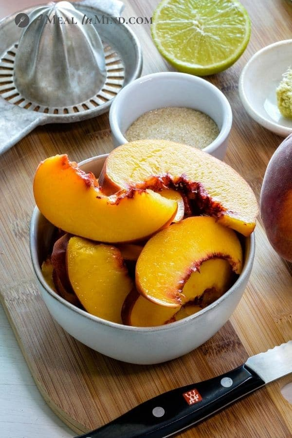 peaches and other ingredients for Peach-Ginger Limeade Mocktail
