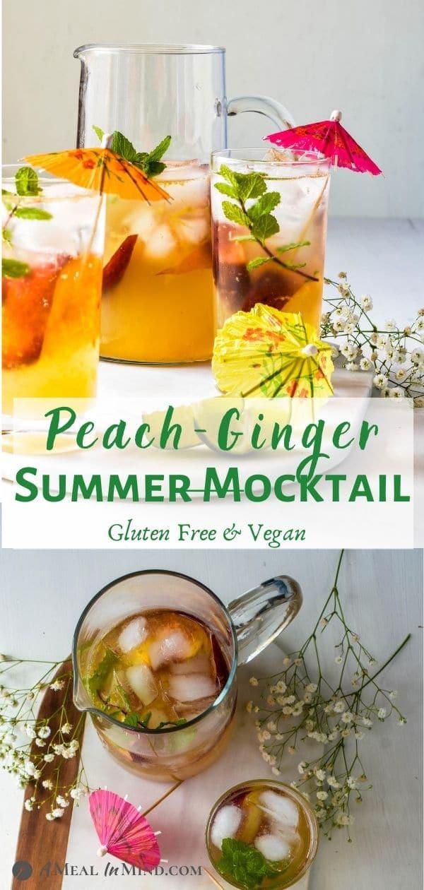 Peach-Ginger Limeade Mocktail pinterest 2 image collage