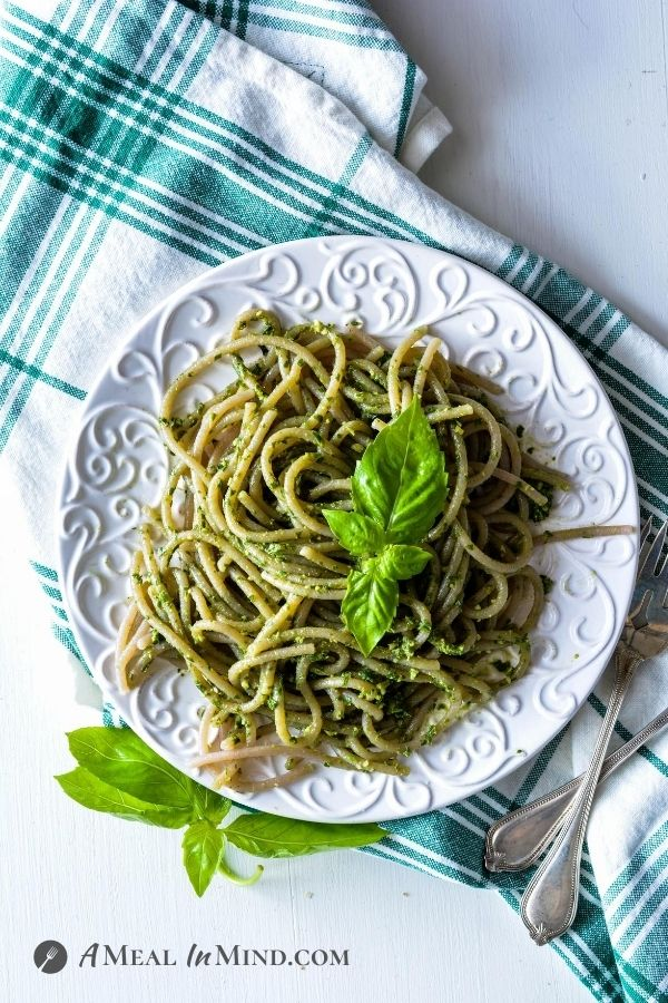 homemade Pesto Pasta on white plate