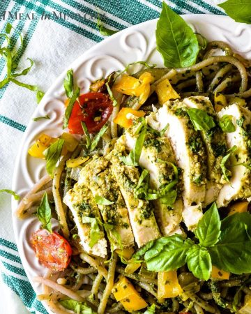 Pesto Chicken Pasta on white plate