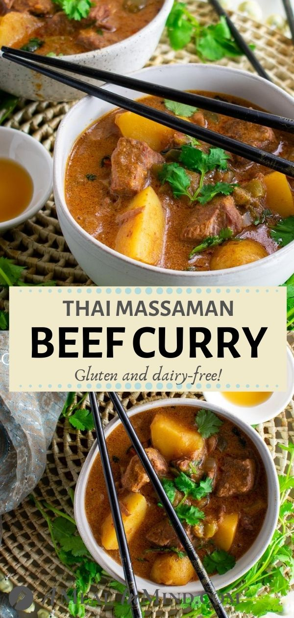 Thai Massaman Curry with Beef and Potatoes pinterest collage