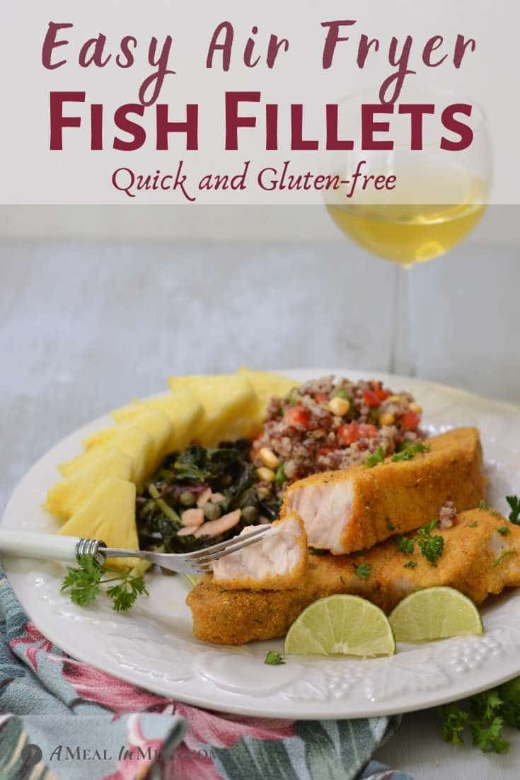 Air-Fryer Fish Fillets with side dishes on white plate