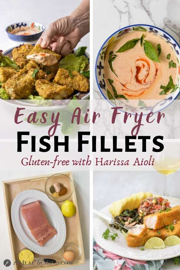 Air-Fryer Fish Fillets with Harissa Aioli pinterest collage