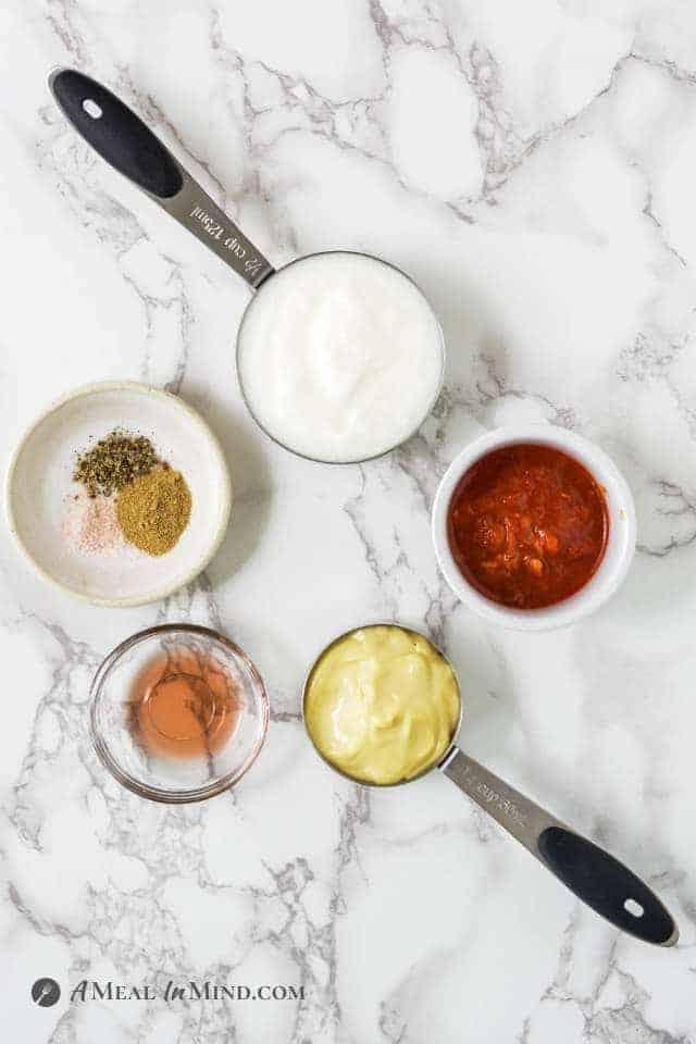 ingredients for harissa aioli