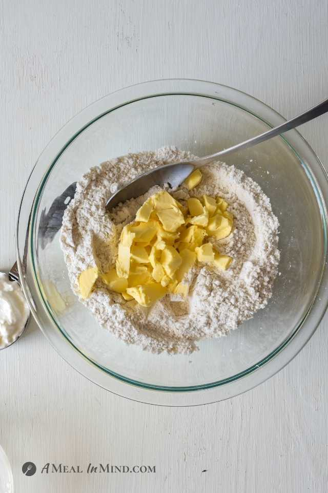 mixing butter into the galette crust dry ingredients