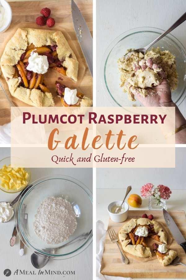Gluten-Free Plumcot-Raspberry Galette 4 image collage