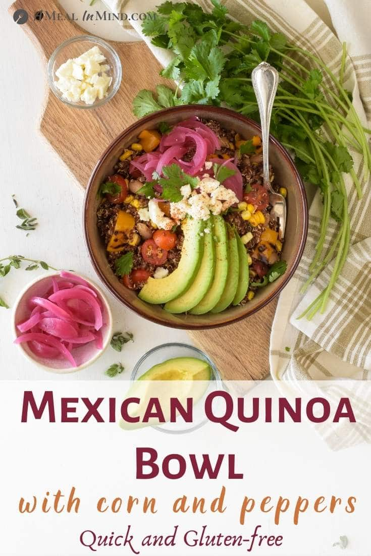 Mexican Quinoa Bowl with Corn and Peppers pinterest image overhead