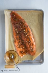 salmon seasoned with garlic and spices