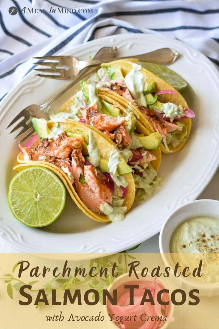 Parchment-Roasted Salmon Tacos pinterest image