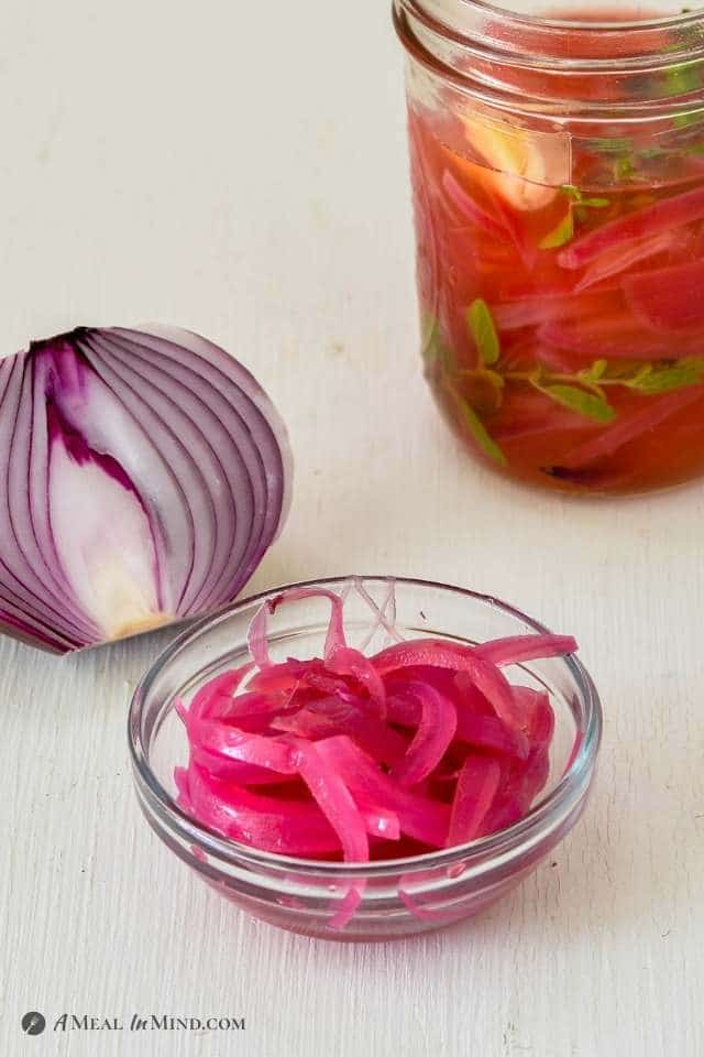 Pickled Red Onions - 5 Ingredients close-up with jar