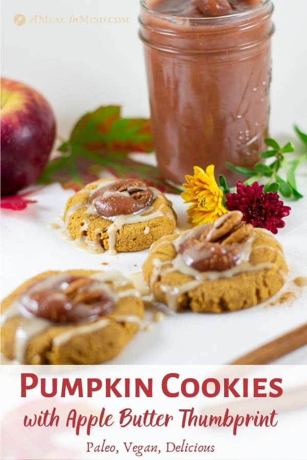 pumpkin cookies with apple butter thumbprint and fall leaves