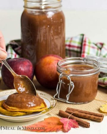 Apple Pluot Butter in glass jars