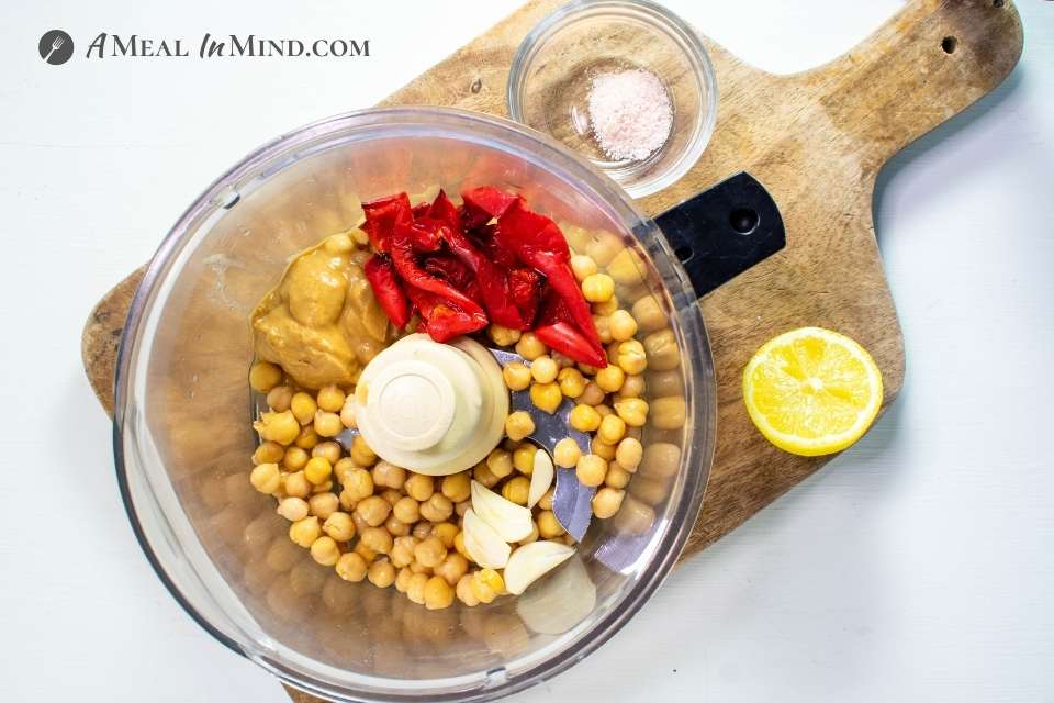 ingredients for Red Bell Pepper Hummus in food processor