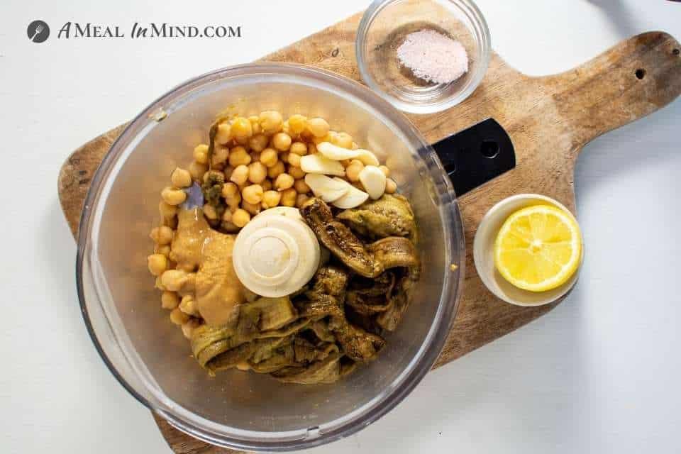 Ingredients for Eggplant Hummus in food processor