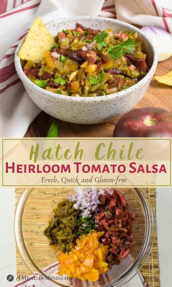 Hatch Green Chile Heirloom Tomato Salsa pinterest collage