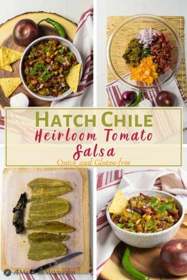 Hatch Green Chile Heirloom Tomato Salsa 4 panel pinterest collage