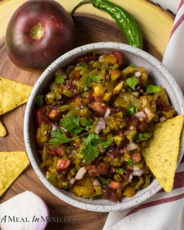 Hatch Green Chile Heirloom Tomato Salsa in bowl