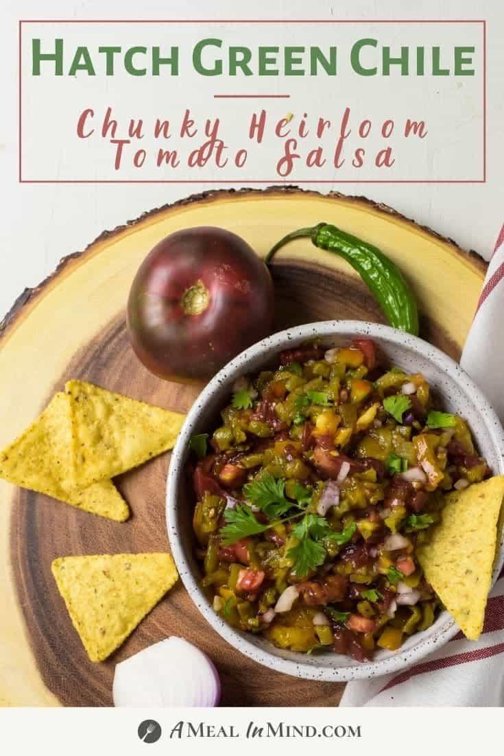 Hatch Green Chile Heirloom Tomato Salsa pinterest image