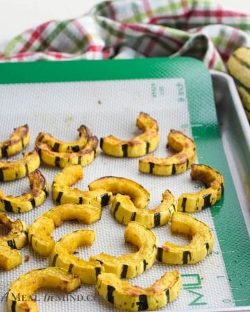roasted delicata squash on baking tray