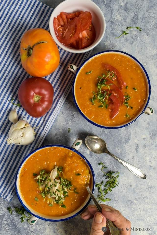 roasted butternut tomato soup 2 ways