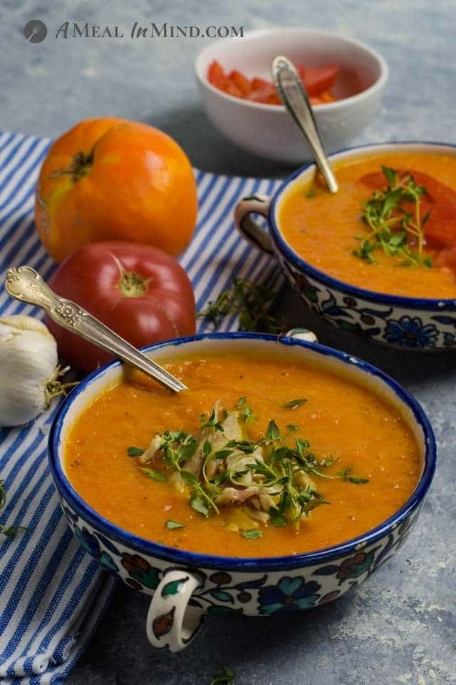 side view of roasted butternut tomato soup
