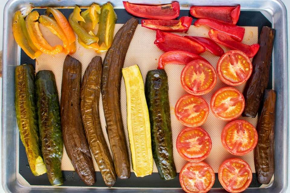roasted vegetables for eggplant and red bell pepper hummus recipes