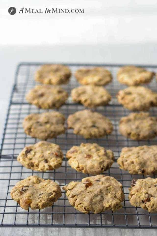 raisin-oatmeal cookies cooling on rack