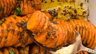 southwestern sweet potatoes in baking dish