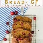 pinterest image of cranberry pumpkin bread on rack