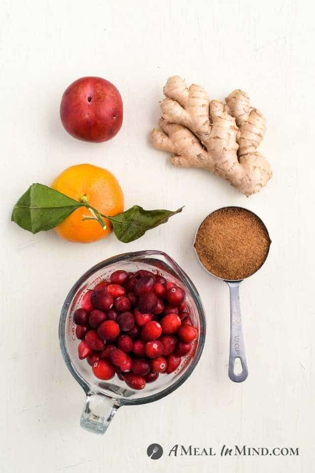 ingredients for cranberry plum sauce