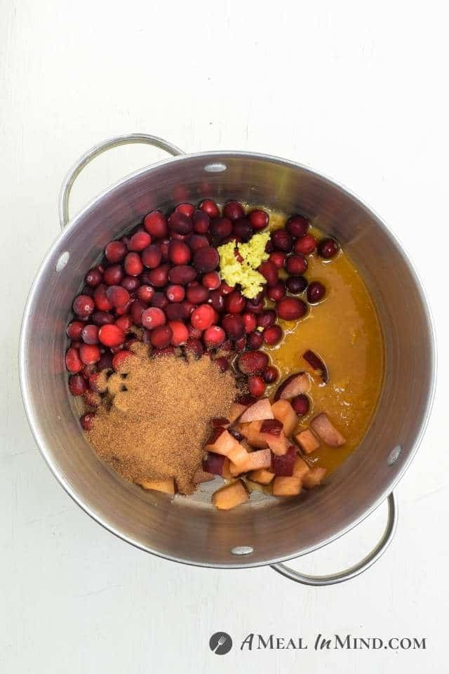 Gingered Cranberry Plum Sauce ingredients in soup pot