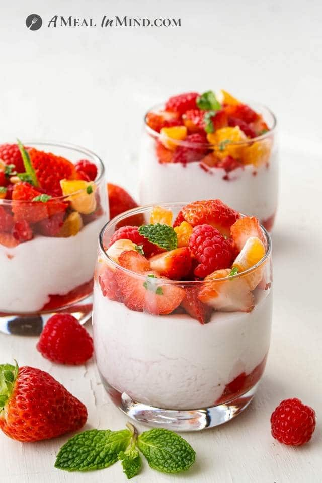 fruit-layered haupia pudding in short glasses
