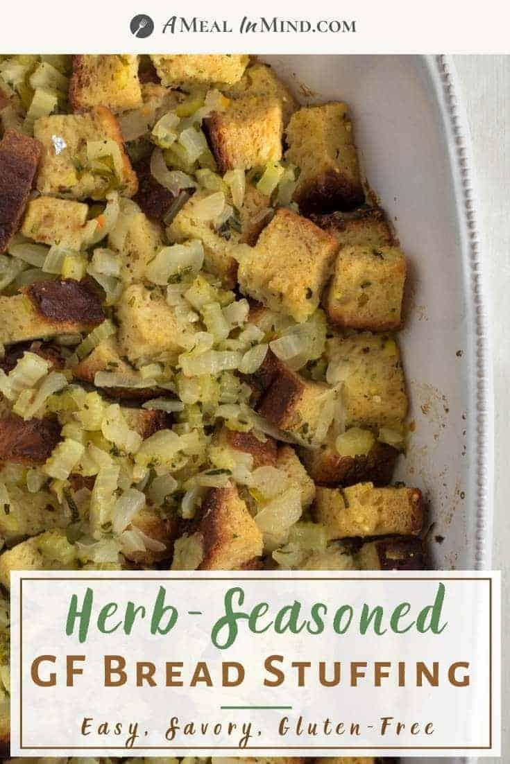 pinterest image of herbed gluten-free stuffing in white baking dish