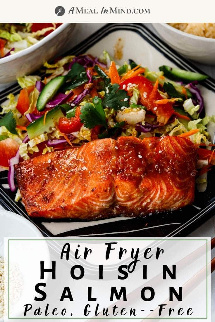 pinterest image of air fryer hoisin salmon