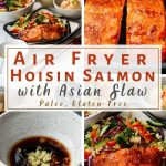 4 image collage of air fryer hoisin salmon