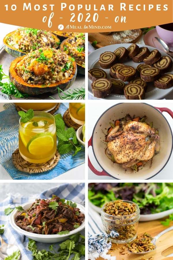 pinterest collage of most popular recipes of 2020 on a meal in mind