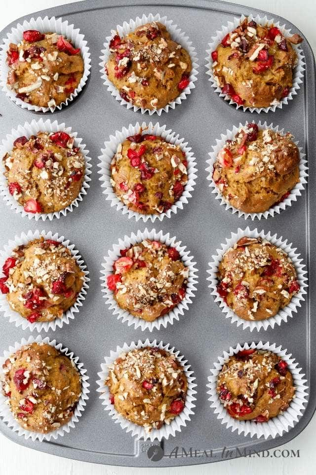 Cranberry-Pecan Pumpkin Muffins in muffin tin