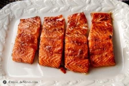 air fryer hoisin salmon on white platter